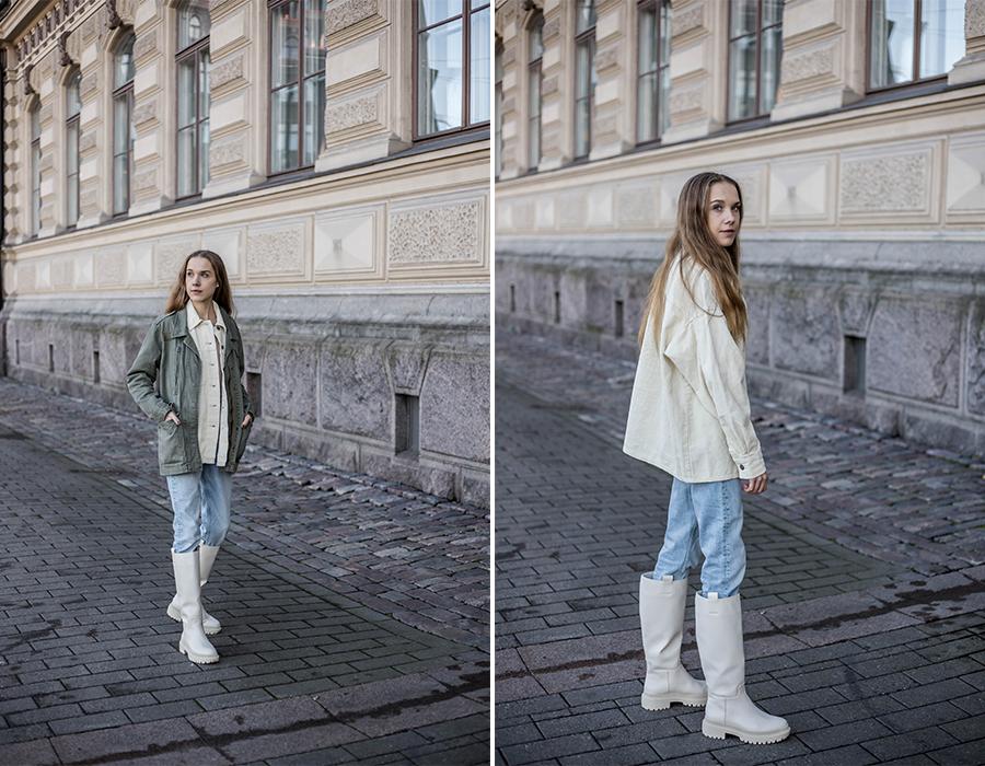 Kuinka yhdistää vaaleat saappaat // How to style cream coloured chunky boots