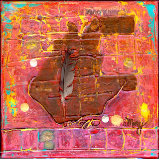 Mixed media on Red, Mary Rush Gravelle