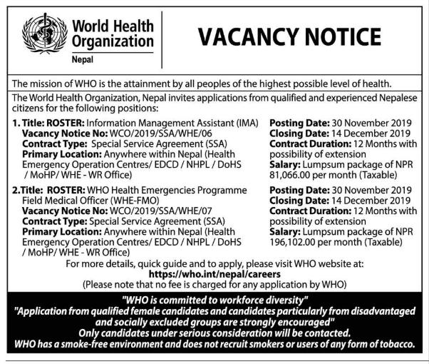 Vacancy at World Health Organization Nepal