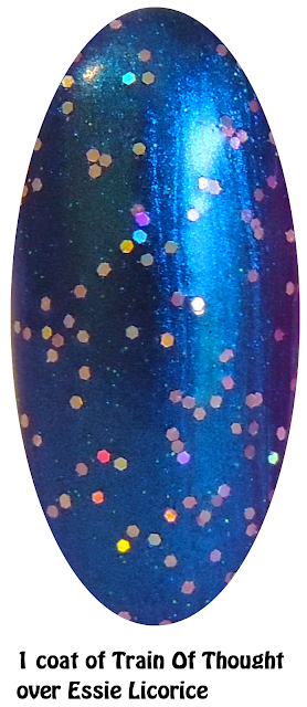 Train of Thought over Essie Licorice- Jelly Nail Polish- Nails