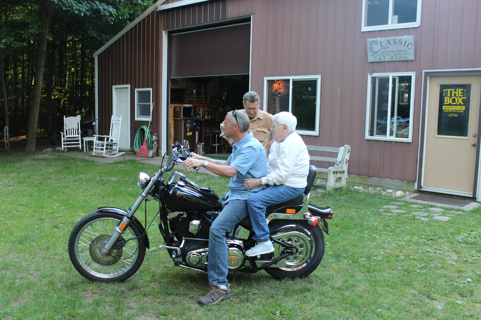 Grandma Rachel and Ryan Ride a Motorcycle