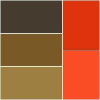 ilustrações marrons e vermelhas