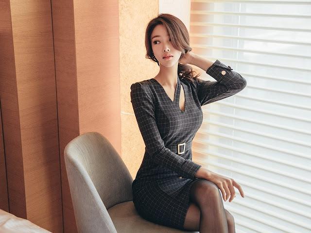 Park Jung Yoon - Grey Cubed Dress #2