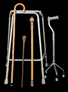Walking frames from the UK and two knobkerries used as walking sticks from South Africa