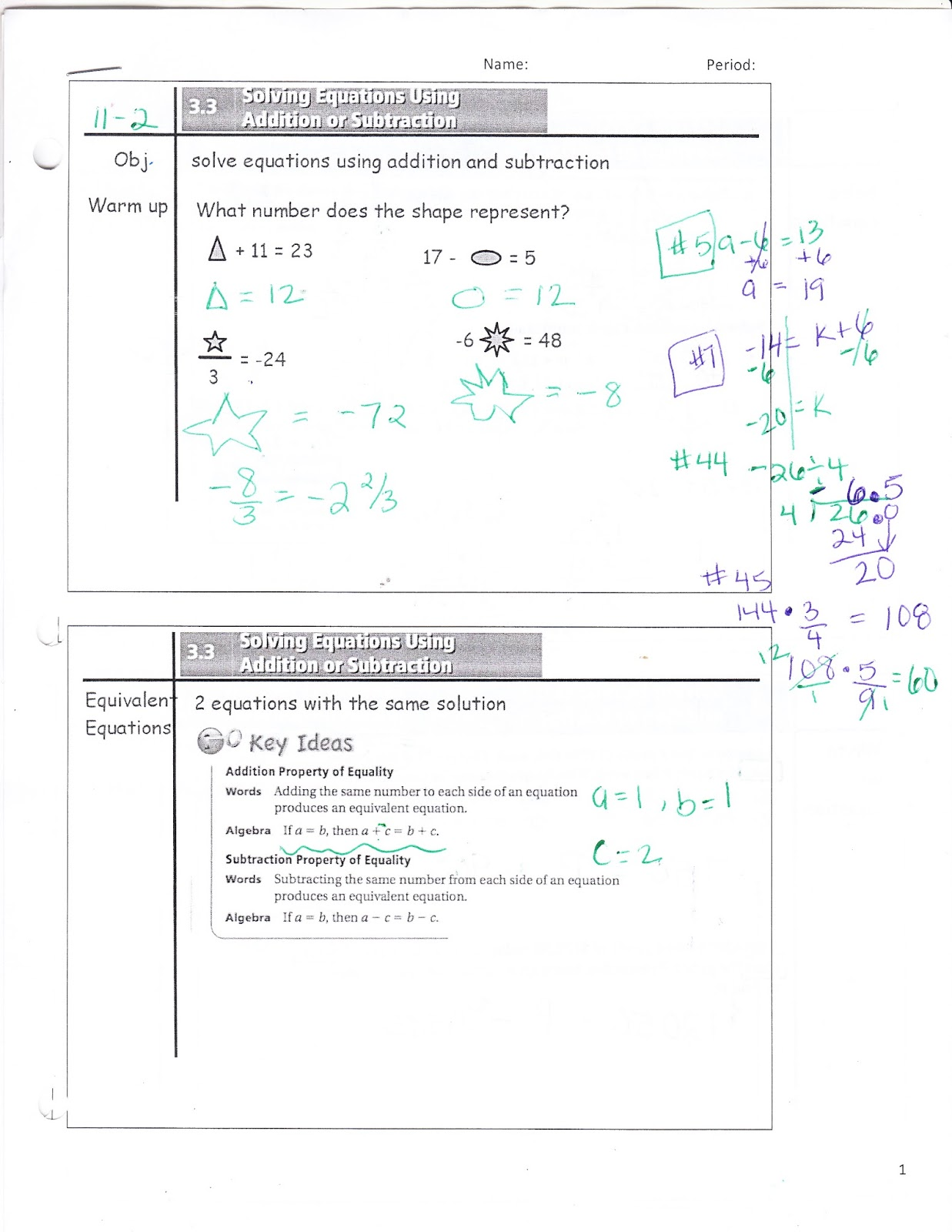 Ms Jean S Classroom Blog 3 3 Solving Equations Using Addition And Subtraction