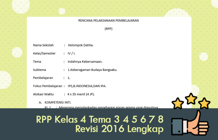 RPP Kelas 4 Tema 3 4 5 6 7 8 Revisi 2016 Lengkap