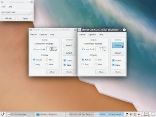 Aplicação gráfica com duas janelas abertas, uma para cada dispositivo.