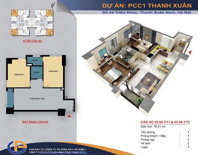 Mặt bằng căn hộ số 03 - 06 diện tích 76,21m2 chung cư PCC1 - 44 Thanh Xuân