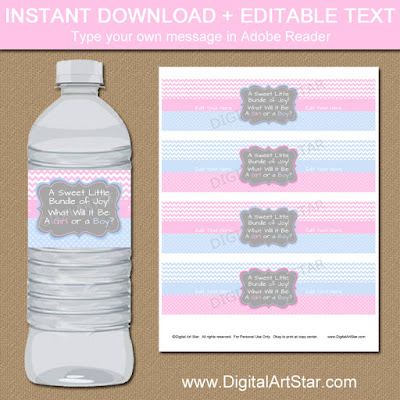 gender reveal water bottle label printable
