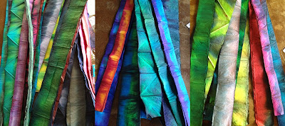 bundles of folded, dryed paper remind me of streamers of color