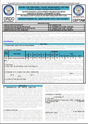DRDO MTS Recruitment 2020 - Online Apply For 1817 MTS Post