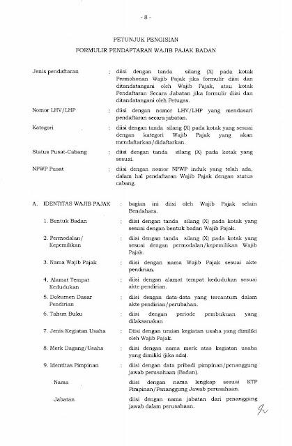 Petunjuk pengisian form NPWP Badan hal 1