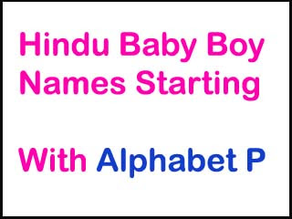 Hindu Baby Boy Names Starting With P