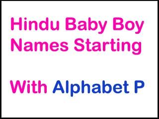 Hindu Baby Boy Names Starting With P