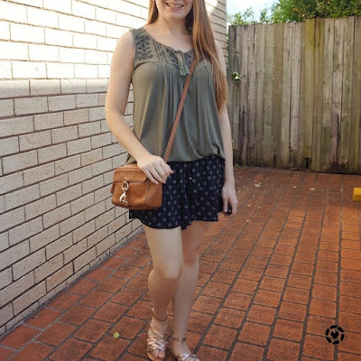 awayfromblue instagram olive embroidered tank, black printed shorts, rebecca minkoff camera bag