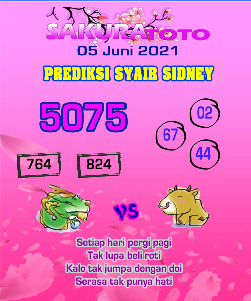 Syair Sakuratoto Sidney Sabtu 05 Juni 2021