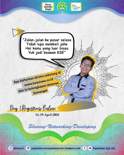 DAY 1 | Registrasi Online Beasiswa KSE Regional UNRI, Pekanbaru 14 April 2021