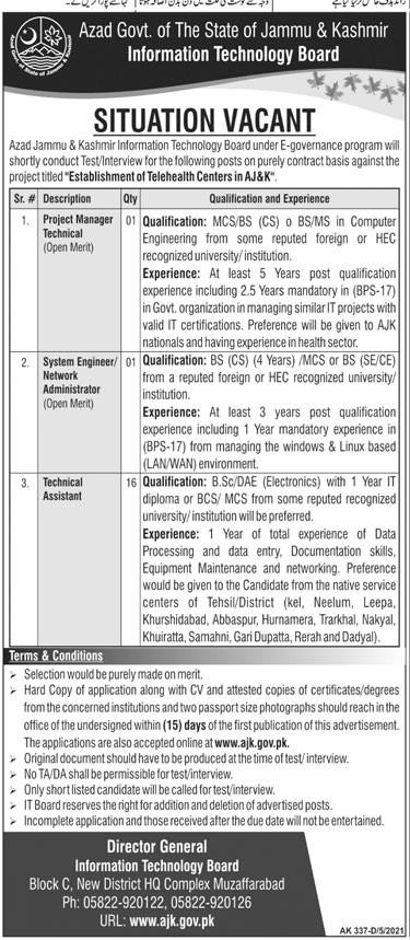 Information Technology Board AJK Jobs 2021 in Pakistan