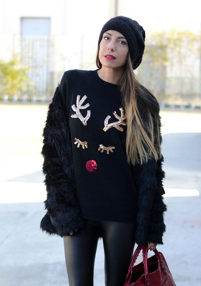 maglione renna paillettes