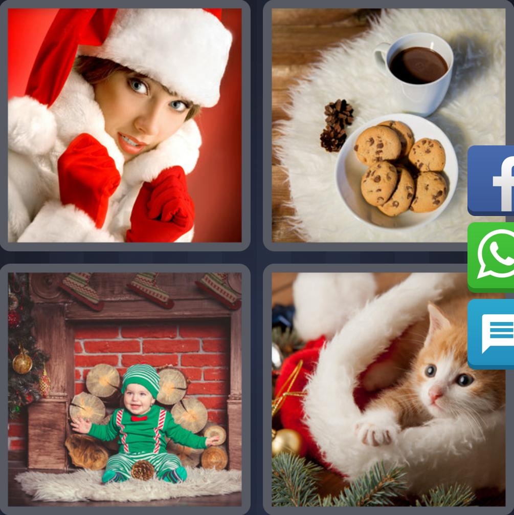 4 Fotos 1 Palabra Gato Navidad Mujer Papa Noel Taza de Cafe con Galletas  Bebe Chimenea da23e178f19