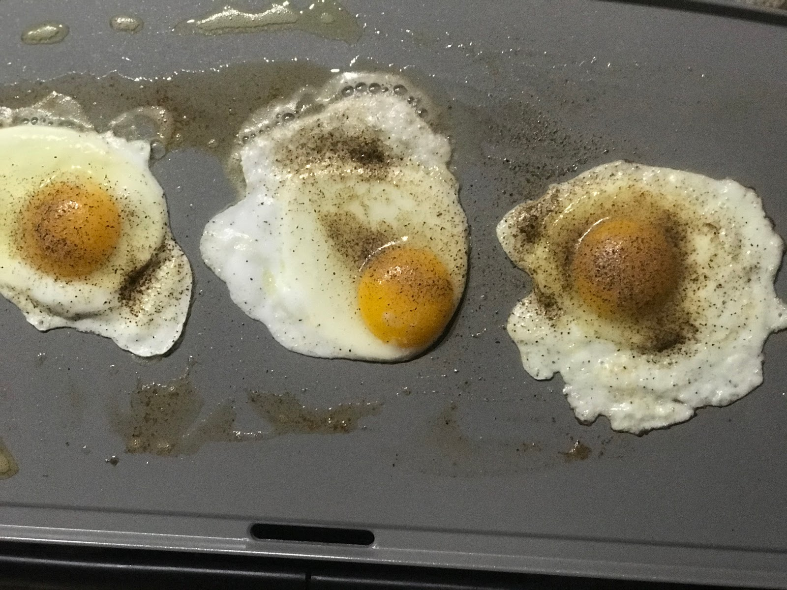Sunny side fried eggs for breakfast: Bits Of Food. Seen first on Bits and Babbles blog