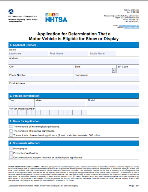 Application for Determination That a Motor Vehicle is Eligible for Show or Display