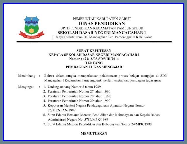 Contoh Surat Keputusan ( SK ) Kepala Sekolah Versi 2017