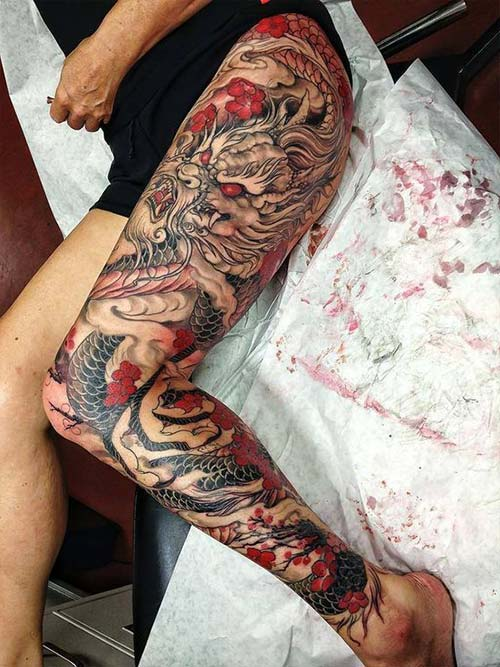 thigh dragon tattoos ejderha dövmeleri