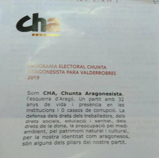 CHA, chunta aragonesista, Valderrobres, catalá de Pompeyo Fabra