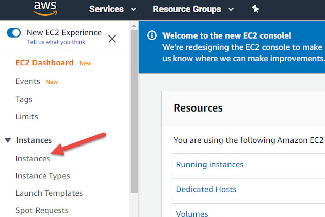 AWS EC2 Dashboard Screen
