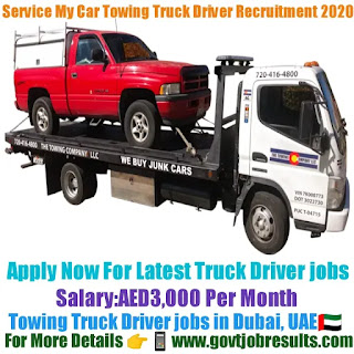 Service My Car Towing Truck Driver Recruitment 2020-21