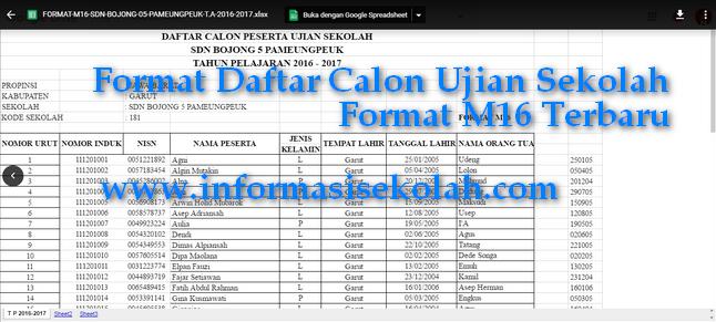 Download Contoh Format M16 Terbaru Semua Jenjang SD SMP SMA File Excel.xls