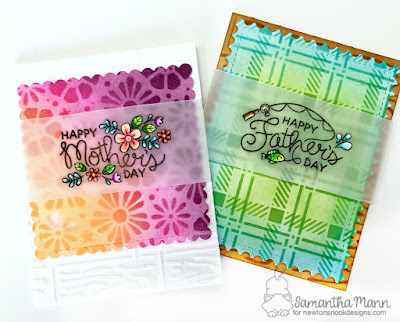 Mother's & Father's Day Card Duo by Samantha Mann, Newton's Nook Designs, distress inks, stencil, handmade cards #cards #inkblending #newtonsnook #fussycut