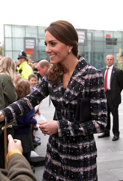 Kate Middleton wore Erdem Coat, Oscar de la Renta pearl earrings, Rupert Sanderson Malory Pumps