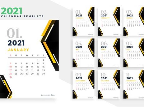calendario 2021 geométrico