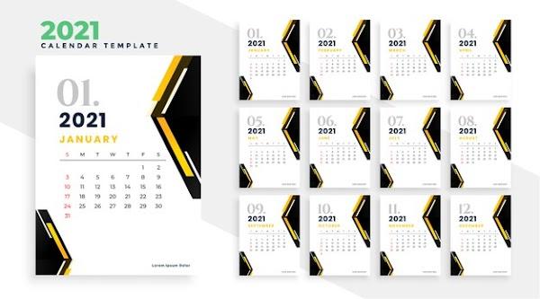 Calendario geométrico 2021 en vector