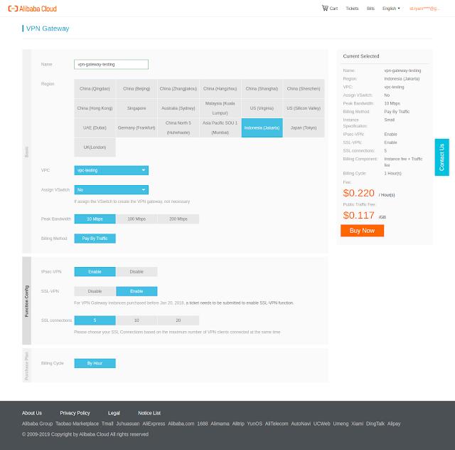 Cara Membuat VPN Gateway pada Alibaba Cloud