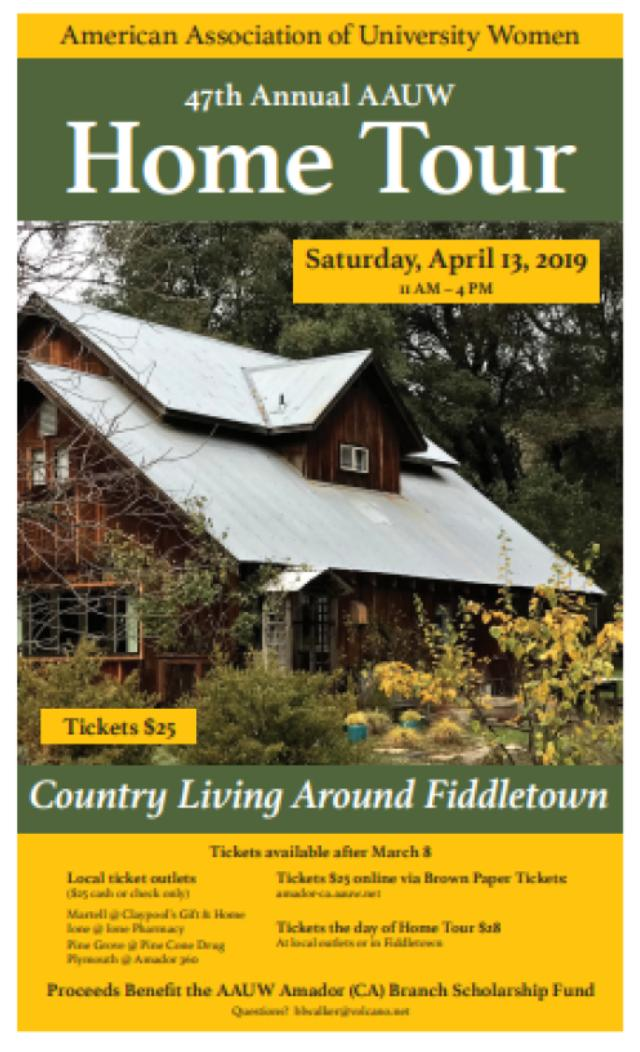 "AAUW Home Tour: ""Country Living Around Fiddletown"" - Sat Apr 13"