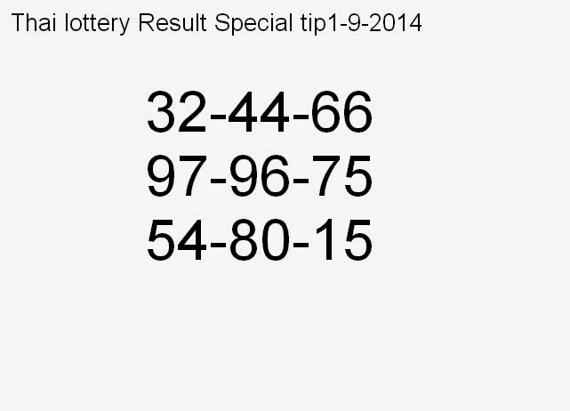 Thai lottery result special tip 1-9-2014 ~ LIVE :: Kerala