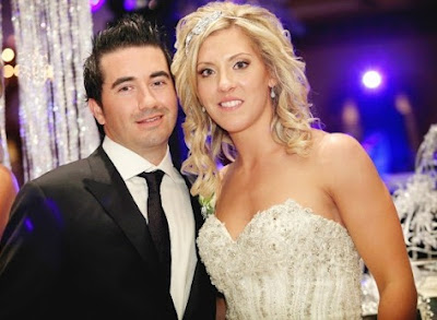 Meghan Agosta with her husband Marco Marciano in their wedding dress