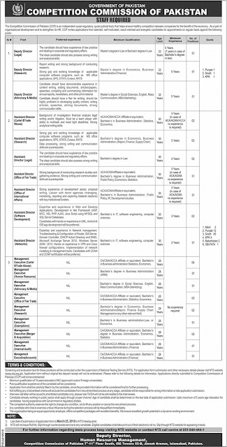 Competition Commission of Pakistan Islamabad Jobs 2019 by NTS