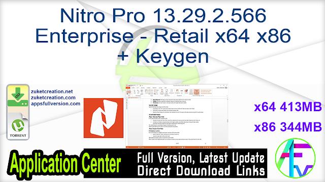 Nitro Pro 13.29.2.566 Enterprise – Retail x64 x86 + Keygen