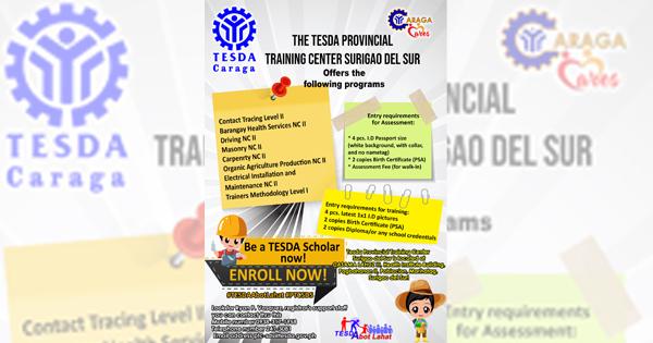 8 Courses: TESDAV PTC Surigao  offers Scholarships