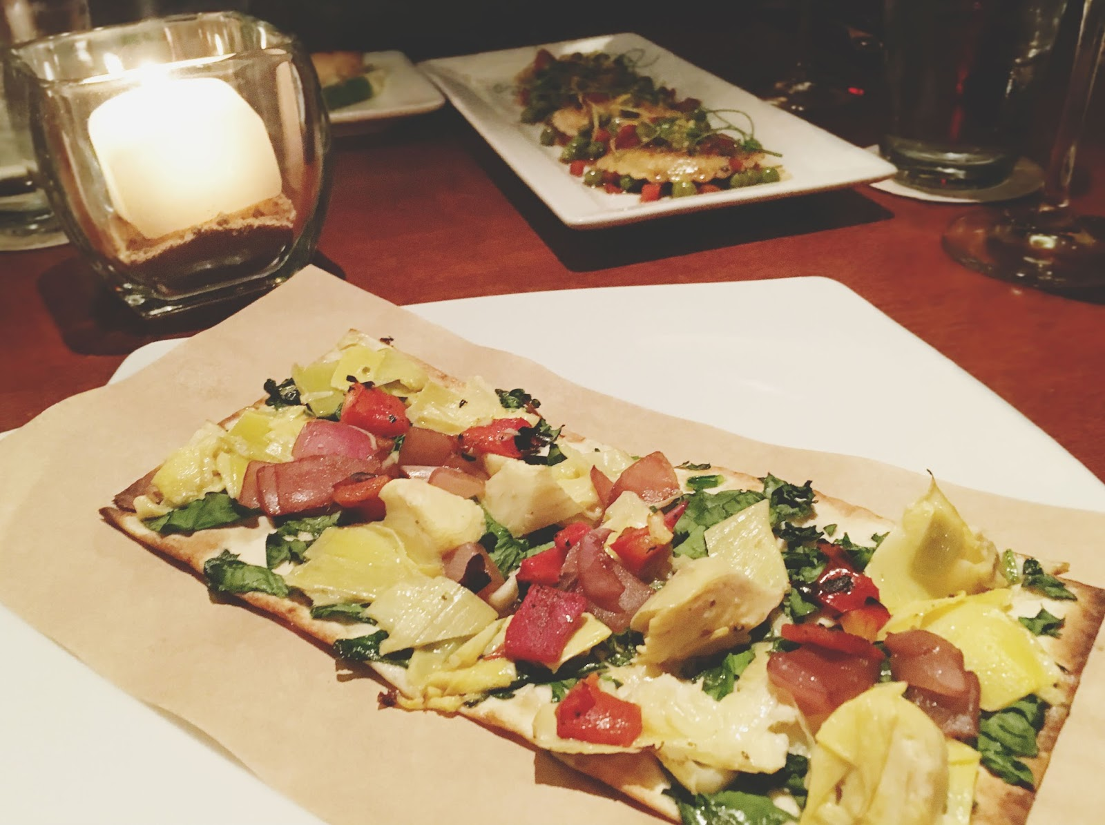 vegan artichoke flatbread at Seasons 52, a restaurant in Houston, Texas