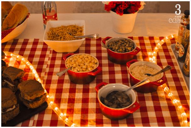 noite do cachorro quente mesa decorada
