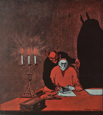 Devil on your shoulder illustration from Die Muskete, 1916