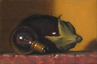 Still life oil painting of an incandescent light bulb beside an eggplant.
