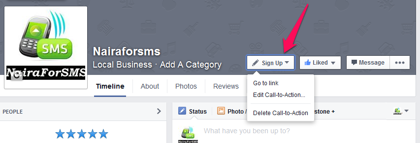 facebook call to action button for Nairaforsms