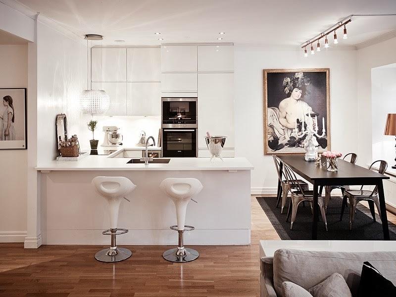Biały apartament z nowoczesną kuchnią i dodatkami glamour, wystrój wnętrz, wnętrza, urządzanie domu, dekoracje wnętrz, aranżacja wnętrz, inspiracje wnętrz,interior design , dom i wnętrze, aranżacja mieszkania, modne wnętrza, styl skandynawski, styl nowoczesny, glamour, białe wnętrza, biała kuchnia, nowoczesne kuchnia, projekt kuchni