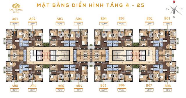 Mặt bằng căn hộ dự án Lạc Hồng Lotus 2